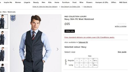 The waistcoat is sold out online,. Picture: Screen grab M&S website.