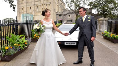 Scott Walker, Lotus' UK sales manager arrived for his wedding to and Belen Vazquez at Norwich Castle