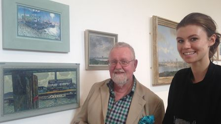Cambridge painter Jon Harris with KES Academy art student Meghan Martin-Lewis, at the Lynn from all