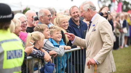 The Prince of Wales on a walkabout at the Sandringham Flower Show. Picture: Ian Burt