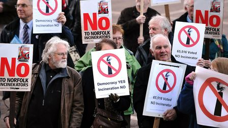 Protestors against the incinerator pictured outside County Hall in Norwich in 2011. Picture: Adrian