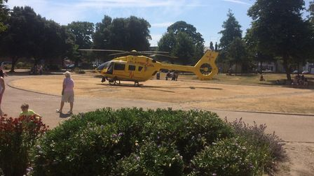 The air ambulance in St George's ParkPicture: Anthony Carroll