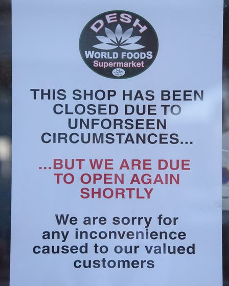 Desh Supermarket signs. The store has been closed since February. Picture: DENISE BRADLEY