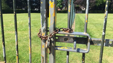 The tennis courts at Heigham Park are locked up. Pic: Dan Grimmer.