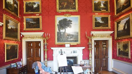 The Landscape Room at Holkham Hall. It features 22 paintings including seven paintings by French lan