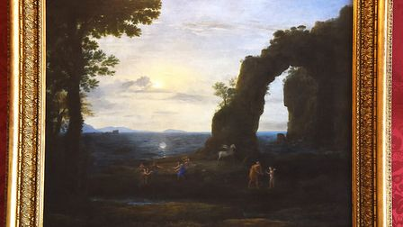 A Claude Lorrain painting from Holkham's Landscape Room which depicts a rocky coast scene with Perse