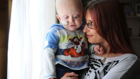 Ryan Wright who suffered with neuroblastoma, pictured with his mum Hayley.PHOTO: ANTONY KELLY