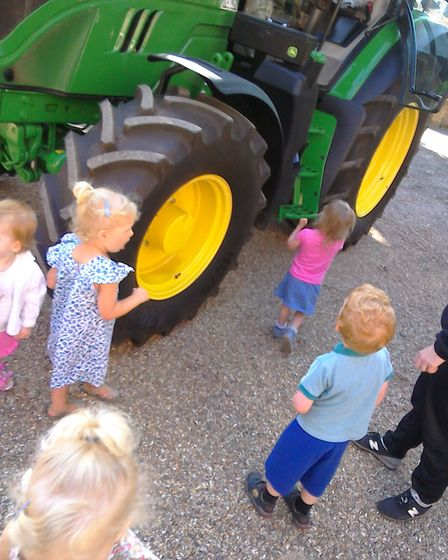Children at the nursery enjoyed being able to look at the tractor. Picture: Supplied by Gemma Hewett