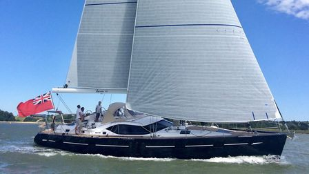 An Oyster 575 yacht, named Marta III. It is the first vessel to be completed by Oyster Yachts under
