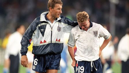 Terry Butcher consoles Paul Gascoigne after England lost to West Germany on penalties in their 1990