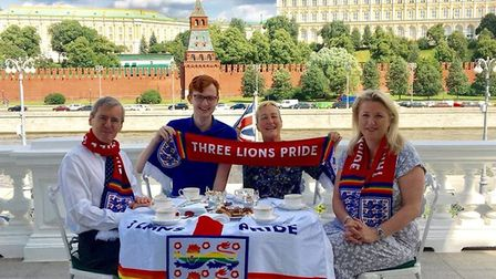The Three Lions Pride team with Uk ambassador Dr Laurie Bristow and vice ambassador Lynsey Scole. Pi