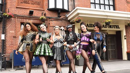 The cast of Six visiting Tudor Norwich at The Maids Head Hotel.Byline: Sonya DuncanCopyright: Archan