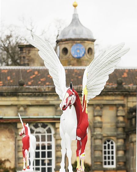 'Legend' and 'Myth' by Damien Hirst on display inside the grounds of Houghton Hall. Picture: Ian Bur