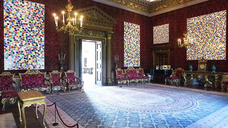 Spot paintings by Damien Hirst have taken the place of the family pictures and are currently on disp