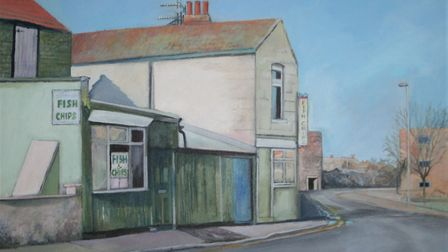 Artist Jane Hall has painted the Camden Road fish and chip shop Photo: Jane Hall