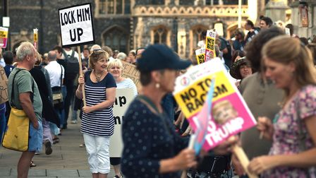 Anti-Trump protest outside Norwich City Hall.Picture: ANTONY KELLY