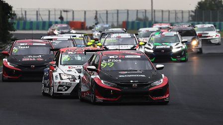 Porlingland''s Josh Files leading the opening TCR Europe race at the Hungaroring before he retired w