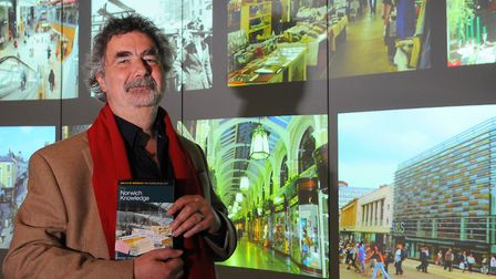 Michael Loveday with his book The Norwich Knowledge, a guide to Greater Norwich. Picture: Denise Bra
