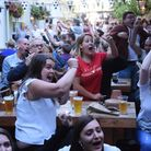 Fans watching England in the World Cup semi final against Croatia at the Lamb Inn. Picture: DENISE B