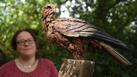 Curator Sarah Cannell studies one of the three birds crafted by Simon Griffiths in last year's Waven