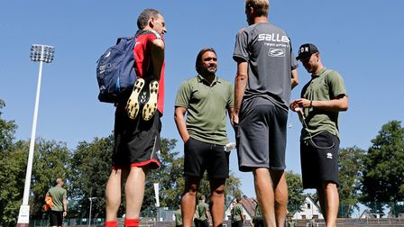 Daniel Farke chats to some of City's backroom team ahead of kick-off Picture: Focus Images Ltd