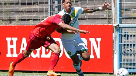 (L-R) Mohamed Drager of Paderborn, Onel Hernandez of Norwich City during the Friendly match at Bente