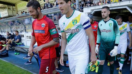 Timm Klose led out Norwich City in their new away strip Picture: Focus Images/Focus Images Ltd