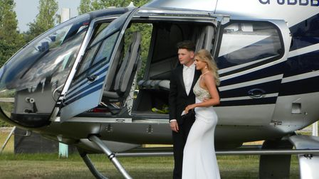 Pupils used a helicopter to arrive at the prom. Picture: Supplied by Alderman Peel High School.