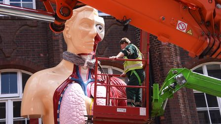The Damien Hirst statue Hymn being prepared to be removed from outside the Norwich University of the