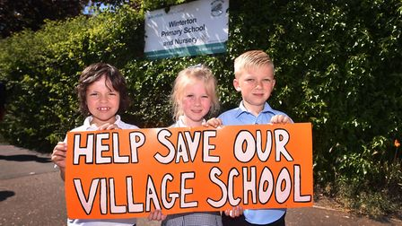 Parents and pupils and Winterton Primary School and Nursery are angry at the proposed closure. Left