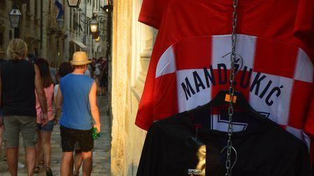 Replica Croatia shirts on sale in Dubrovnik Old Town. Picture: Chris Hill