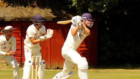 Jack Newby on his way to an unbeaten century for Norwich against Vauxhall Mallards Picture: Tim Ferl