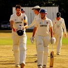 Norfolk's Brett Stolworthy (left) and Sam Groves head back to the pavilion after putting on an unbea