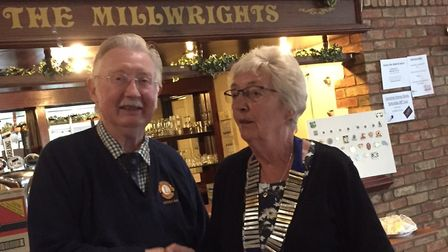 Pam Goldsmith was handed the chains of office by outgoing president Vic Brown. Picture: Dereham Lion