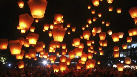A call has been made for a ban on sky lanterns: Pic:: Chiang Ying-ying / AP