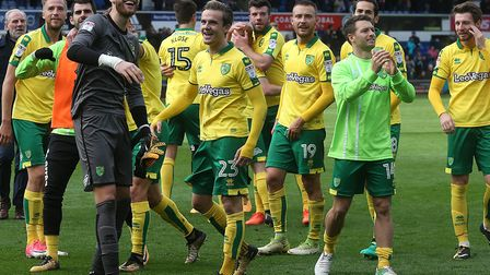 Norwich City players celebrating their 1-0 win at Ipswich last season Picture: Paul Chesterton/Focus