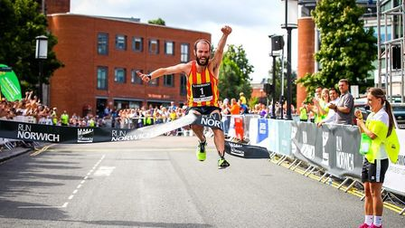 Nick Earl and that victory leap after success at Run Norwich in 2016. Picture: Epic Action Imagery