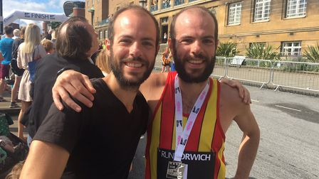 Run Norwich winner Nick Earl, right, with his twin brother Johnny after the race. Picture: STUART AN