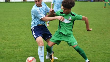 Ismael Fatadjo, right, in action for Gorleston last season, has joined Lowestoft Town Picture: David