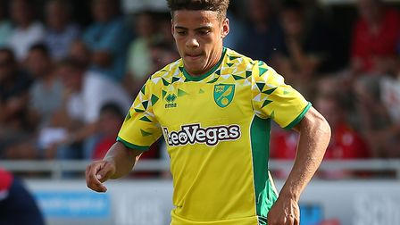 Max Aarons in pre-season action against Union Berlin for Norwich last week Picture: Paul Chesterton/