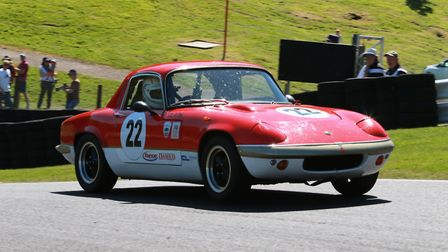 Jeremy Clark pushing hard in his Lotus Elan at Cadwell Park Picture: Paul Lawrence.