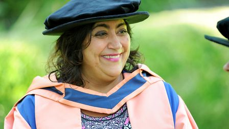 Gurinder Chadha at the UEA to receive an honorary degree. Picture: Denise Bradley