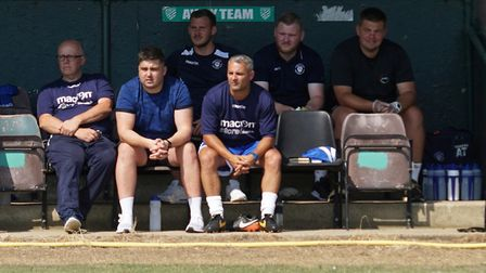 Lowestoft manager Jamie Godbold watches his team in pre-season action Picture: Shirley D Whitlow