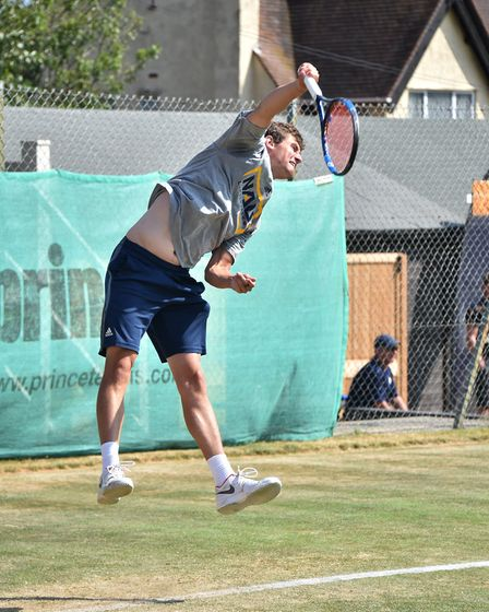 Tennis Summer County Cup at Cromer Tennis and Squash Club. Norfolk v Yorkshire. Tom Fisher (Norfolk)