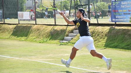 Tennis Summer County Cup at Cromer Tennis and Squash Club. Norfolk v Yorkshire. Will Davies (Norfolk
