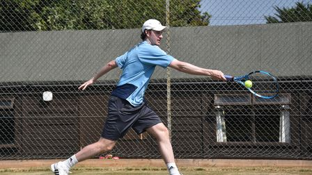 Tennis Summer County Cup at Cromer Tennis and Squash Club. Norfolk v Yorkshire. Richard Bloomfield (