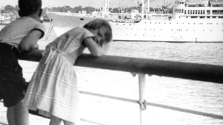 Ron Lister with sister Janet in Colombo Harbour on the way to Australia in 1958