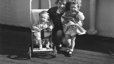Maureen Walker with her daughters Alison and Lynn on the way to Australia in 1962