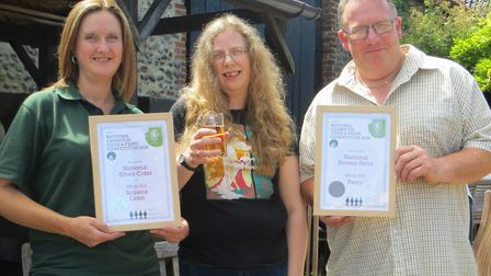 Lisa and Mark Jarvis of Whin Hill Cider receiving their certificates from Andrea Briers, chair of CA