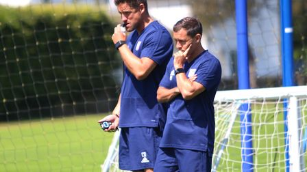 Paul Hurst and assistant Chris Doig - some are tipping Town for the drop Picture: ROSS HALLS